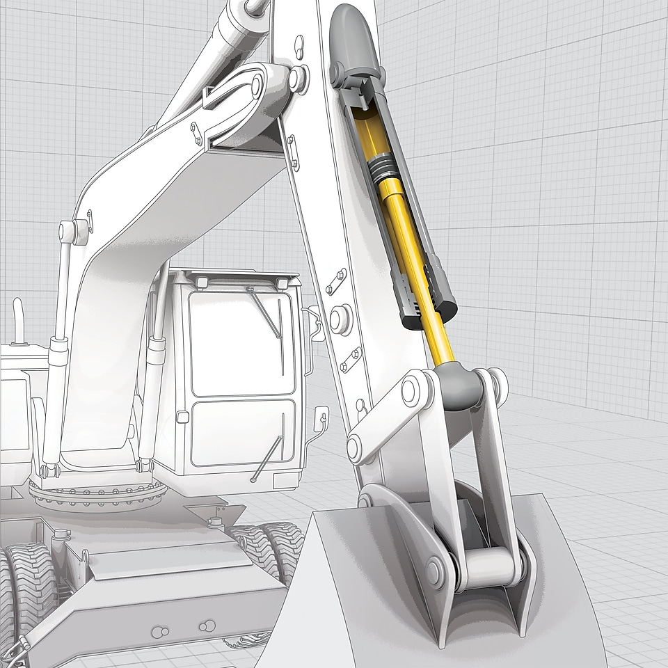 excavator vector drawing